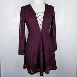 She and Sky Maroon Long Sleeve Dress